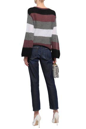 BRUNELLO CUCINELLI Striped metallic ribbed-knit sweater