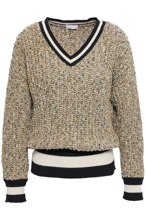 BRUNELLO CUCINELLI Intarsia-trimmed marled cotton-blend sweater