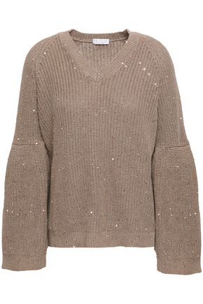 BRUNELLO CUCINELLI Ribbed cotton, line and silk-blend sweater