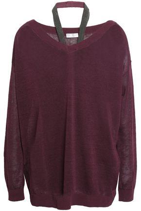 BRUNELLO CUCINELLI Bead-embellished linen-blend sweater
