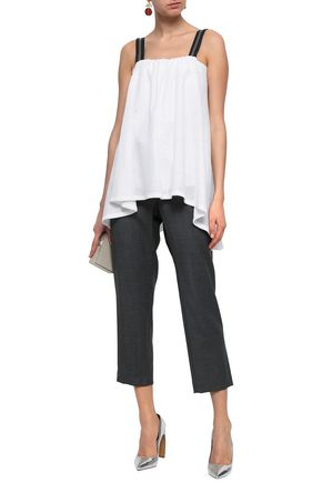 BRUNELLO CUCINELLI Bead-embellished linen and silk-blend top