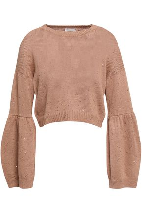 BRUNELLO CUCINELLI Sequined cotton, linen and silk-blend sweater