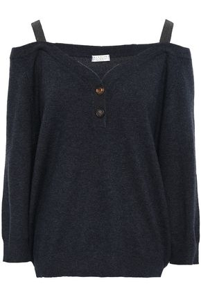 BRUNELLO CUCINELLI Cold-shoulder embellished cashmere top