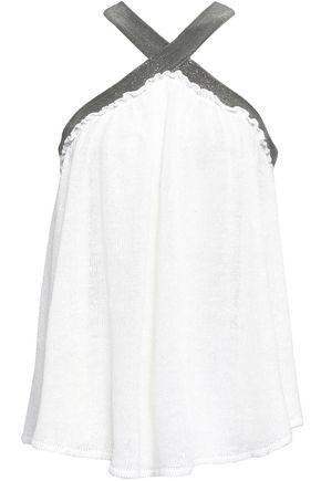 BRUNELLO CUCINELLI Bead-embellished linen and silk-blend halterneck top