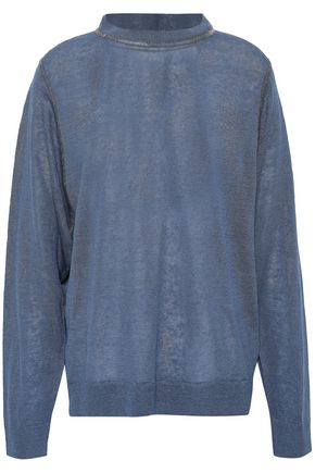 BRUNELLO CUCINELLI Bead-embellished linen-blend top