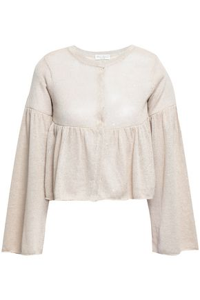 BRUNELLO CUCINELLI Sequined linen and silk-blend cardigan