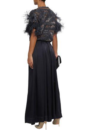 BRUNELLO CUCINELLI Feather-embellished cotton-blend cardigan