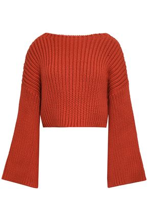 BRUNELLO CUCINELLI Cropped ribbed-knit cotton-blend sweater