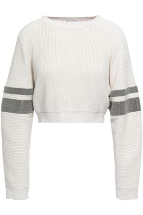 BRUNELLO CUCINELLI Bead-embellished cropped ribbed cotton sweater