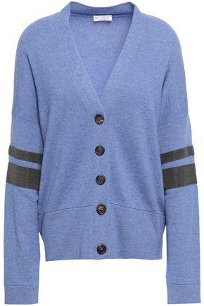 BRUNELLO CUCINELLI Bead-embellished striped cashmere cardigan