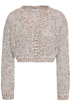 BRUNELLO CUCINELLI Sequined cropped knitted cardigan