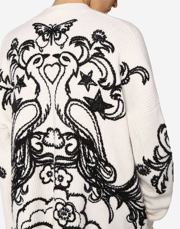 Embroidered Phoenix Cashmere Wool Cardigan