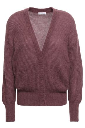BRUNELLO CUCINELLI Brushed metallic ribbed-knit cardigan
