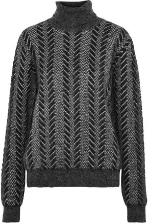 SAINT LAURENT Mohair-blend jacquard turtleneck sweater