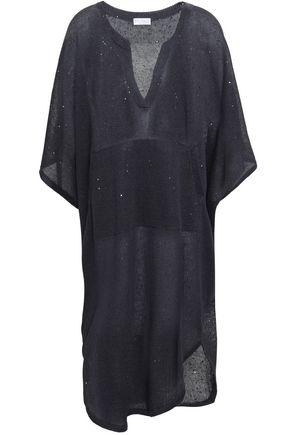 BRUNELLO CUCINELLI Sequin-embellished linen and silk-blend dress