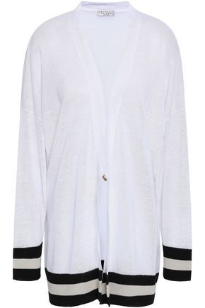 BRUNELLO CUCINELLI Striped linen-blend cardigan