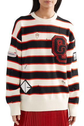 OPENING CEREMONY Appliquéd distressed striped cotton-blend sweater