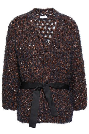 BRUNELLO CUCINELLI Belted sequin-embellished open-knit cardigan