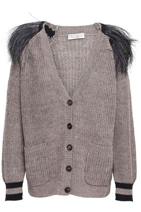 BRUNELLO CUCINELLI Feather-trimmed metallic linen cardigan