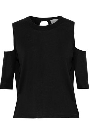 MICHELLE MASON Cold-shoulder wrap-effect merino wool top