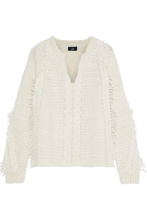 LINE Frayed cable-knit sweater