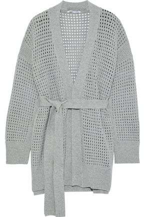 AGNONA Belted open-knit cashmere cardigan