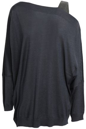 BRUNELLO CUCINELLI Asymmetric bead-embellished cashmere and silk-blend sweater