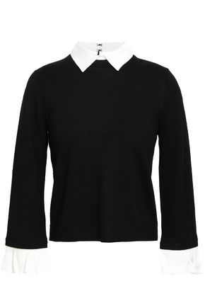 ALICE + OLIVIA Aster convertible poplin-trimmed wool-blend sweater
