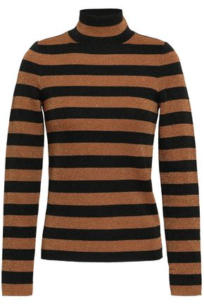ALICE + OLIVIA Metallic striped wool-blend turtleneck sweater