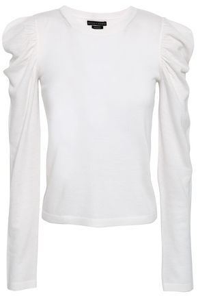 ALICE + OLIVIA Lidia gathered wool-blend top