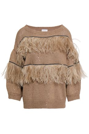 BRUNELLO CUCINELLI Feather-trimmed embellished cotton, linen and silk sweater