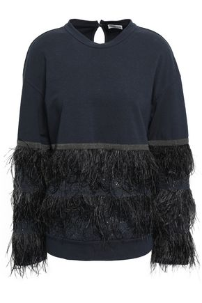 BRUNELLO CUCINELLI Embellished French stretch-cotton terry sweatshirt