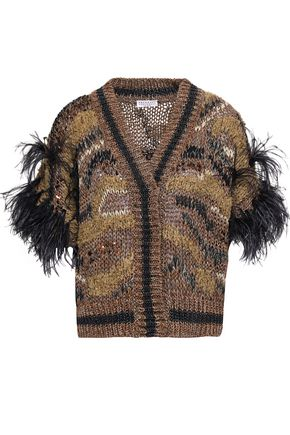 BRUNELLO CUCINELLI Feather-embellished cotton-blend cardigan