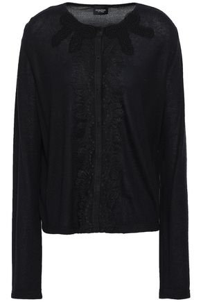 GIAMBATTISTA VALLI Lace-trimmed cashmere and silk-blend cardigan