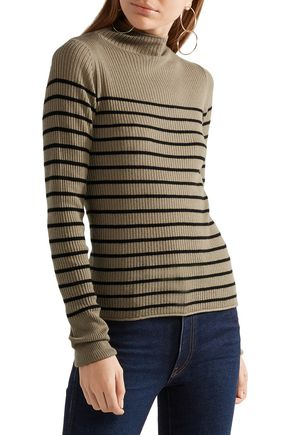 VINCE. Striped ribbed-knit cashmere turtleneck sweater