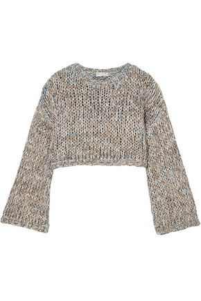 BRUNELLO CUCINELLI Cropped metallic open-knit sweater