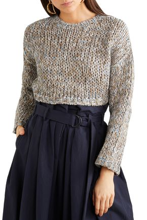 BRUNELLO CUCINELLI Cropped metallic marled knitted sweater