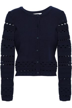 MILLY Cutout knitted cardigan