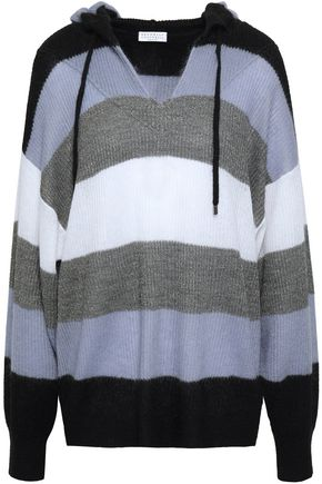 BRUNELLO CUCINELLI Metallic striped brushed ribbed-knit hoodie