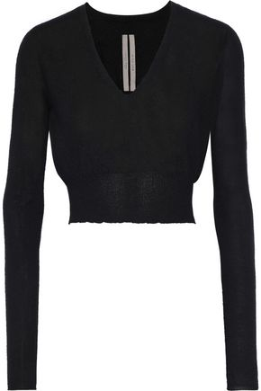RICK OWENS LILIES Cropped brushed-cashmere sweater