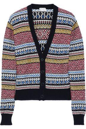 SAINT LAURENT Intarsia cotton and linen-blend cardigan