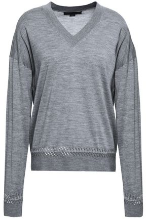 ALEXANDER WANG Bead-embellished merino wool and silk-blend sweater