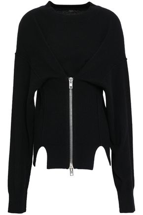 ALEXANDER WANG Zip-detailed cutout knitted sweater