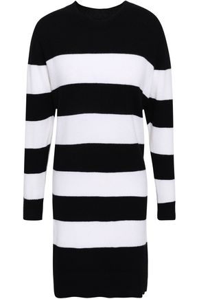 ENZA COSTA Striped cashmere mini dress