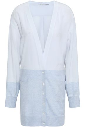 AGNONA Wool-paneled two-tone silk crepe de chine cardigan