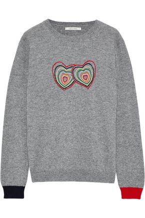 CHINTI AND PARKER Embroidered mélange cashmere and wool-blend sweater