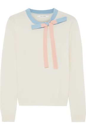 CHINTI AND PARKER Bow-embellished cashmere and wool-blend sweater