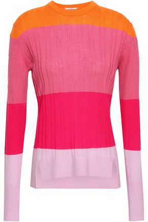 TOME Color-block merino wool, silk and cashmere-blend sweater