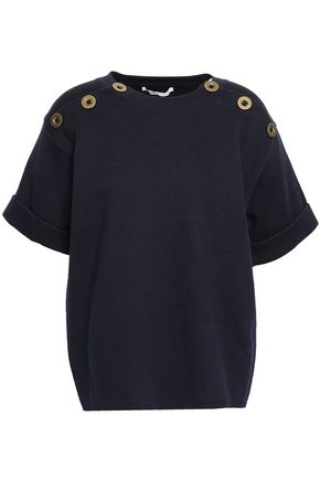 AGNONA Button-detailed cotton and cashmere-blend top