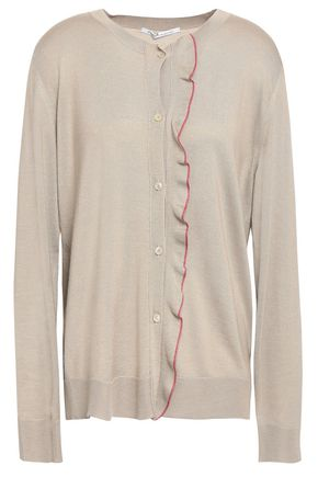 AGNONA Ruffle-trimmed wool, cashmere and silk-blend cardigan